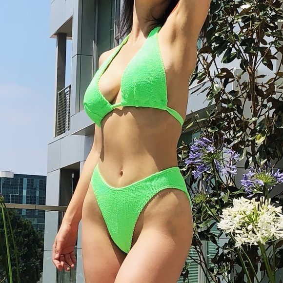 384814df566 ASOS Swim | Neon Green Crinkle High Leg Bikini Set | Poshmark